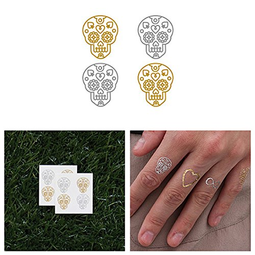 Tattify Tiny Gold And Silver Sugar Skull Temporary Tattoo - Sugar (Set of 8) - Other Styles Available - Fashionable Temporary -