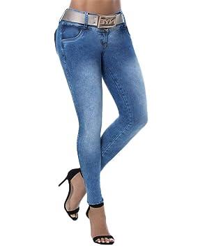 Mujer Cintura Baja Delgado Fit Flaco Pantalones Vaqueros ...