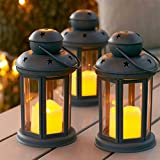 Lights4fun Set of 3 Grey Battery Operated LED Candle Lanterns for Indoor Outdoor Use b