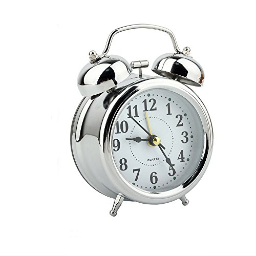 Alarm Clock,3''Mini Non Ticking Twin Bell Desktop Alarm Clock Back light Silent analog Quartz Movement/for Heavy Sleepers and Bedrooms Battery Operated Alarm Clock/For Kids Teens Adults by SanSeng
