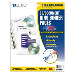 C-Line CD/Document Ring Binder Pages, 8.5 x 11 Inches, 10 per Pack (61747)