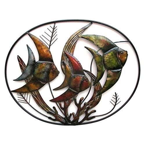 Metal Artistic Plaque - Mayrich Metal Angelfish Wall Art, Summer Beach House Décor, Underwater Fish Scene Sculpture