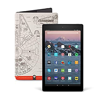 Fire HD 10 Tablet (32 GB, White, With Special Offers) + Star Wars Millennium Falcon Limited Edition Standing Case + 15W USB-C Charger