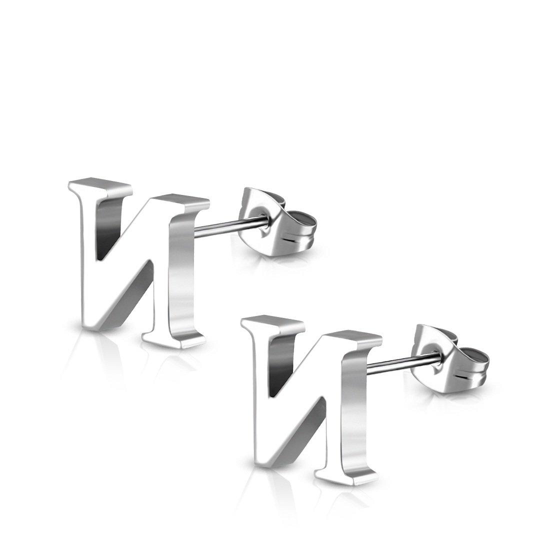 Stainless Steel Alphabet N Stud Earrings pair