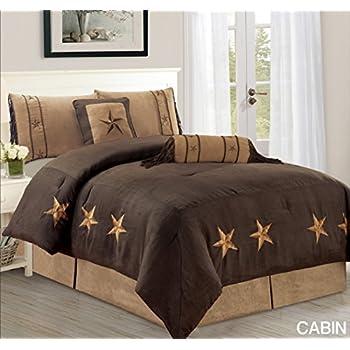 6 piece luxury western bedding oversize king size cabin micro suede comforter set dark