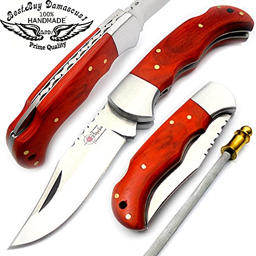 Best.Buy.Damascus1 Beautiful Orange Wood 6.5'' Handmade Stainless Steel Folding Pocket Knife With Back Lock + sharpening Rod 100% Prime Quality
