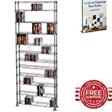 DVD Storage Rack Metal Wire Holder Media Stand Room Display Tower Adjustable Shelf Organizer Large Vertical Storage Home Living Room Store Furniture & E book by Easy2Find.