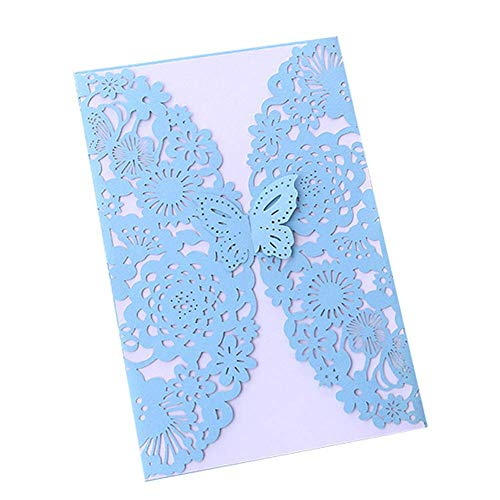10 Pcs Wedding Invitation Cards Laser Cut Floral Butterfly Pattern Invitations Cards Kits for Engagement Wedding Party Bridal Showers(Light-Blue)