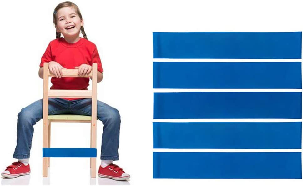 Thick Natural Latex Stretch Chair Fidget Bands Stretch Foot Bands ADHD ADD SPD Autism Sensory Needs Workout Chair Bands for Kids with Fidgety Feet for Classroom and Home 5 PCS (Blue)