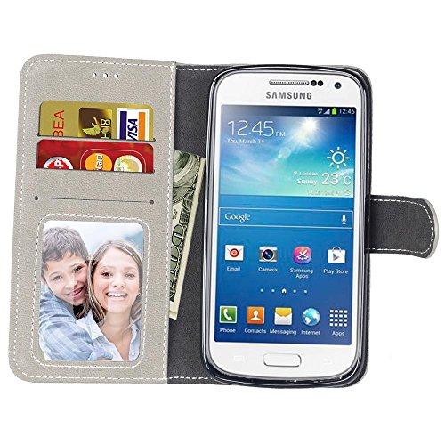 YHUISEN Estilo retro de color sólido Premium PU cuero cartera de la caja Flip Folio cubierta protectora de la caja con ranura para tarjetas / Stand para Samsung Galaxy S4 Mini ( Color : Black , Size : White