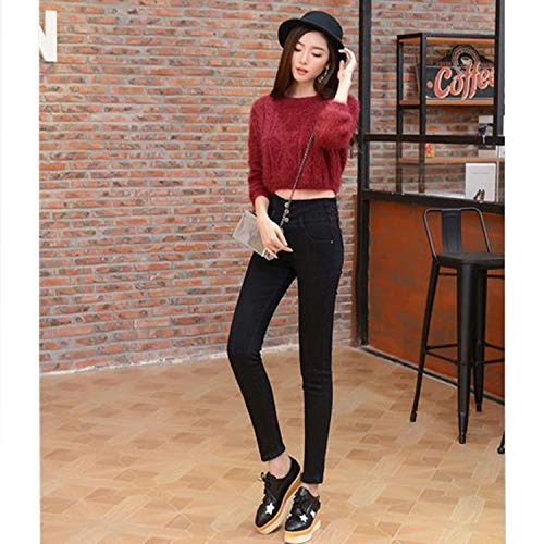 2018 Winter Jeans Woman Classic High Waist Elastic Skinny Stretch Denim Pencil Pants Thick Velvet Warm Jeans -