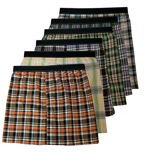 s Big & Tall King Size Exposed Waistband Woven Boxer Shorts Underwear (6XL) ()