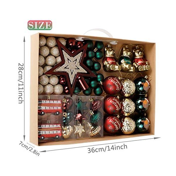 Valery Madelyn Palle di Natale 70 Pezzi di Palline di Natale, 3-10 cm di Strada di Campagna Rosso Verde e Oro Infrangibile Ornamenti di Palla di Natale 3 spesavip