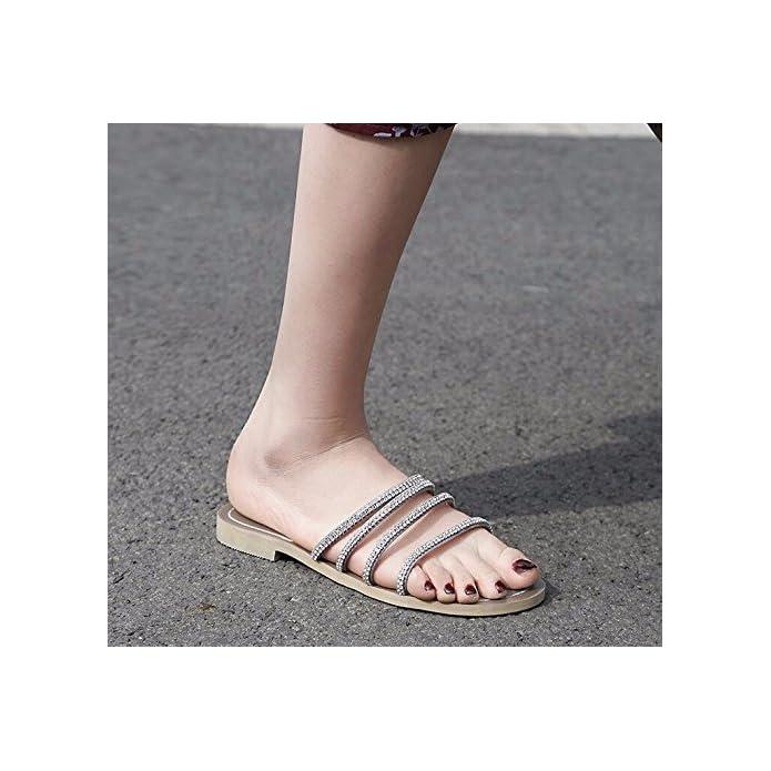 Bbslt in Estate L'acqua Un Sottile E Piatto Pantofole Donna Magra Basso Il Tipo Di Parola Moda Indossare Sandali Con Piatto
