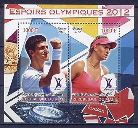 Mali 2012 Miniature Sheet London Olympic Games 2 Values #1 Sport Olympics Tennis Novak Djokovic Victoria Azarenka MNH JandRStamps