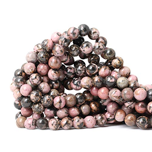 """CHEAVIAN 45PCS 8mm Natural Black Line Rhodochrosite Gemstone Smooth Round Loose Beads for Jewelry Making 1 Strand 15"""""""