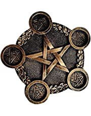 NUOBESTY Star Candle Holder Astrology Pentacle Altar Plate Resin Tealight Holder Tray Witchcraft Altar Supplies for Witchcraft Wiccan Supplies