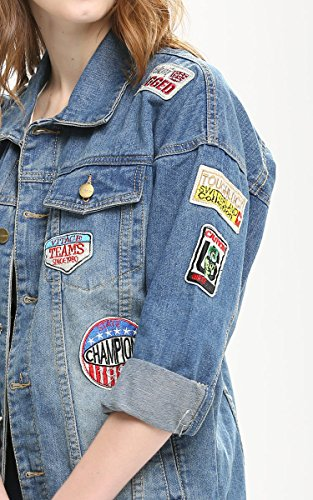 Jeans-Jacke Denim Casual Long Sleeve Autumn Outerwear Loose Badge Washed Mantel