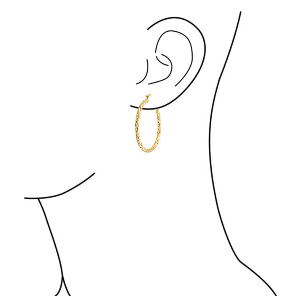 de557bf338657 Twisted Rope Cable Large Hoop Earrings For Women For Teen 18K Gold Plated  Brass 2.25 Inch Dia