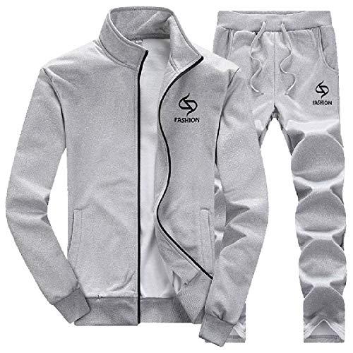 HEFASDM Homens zip up Sport 2 peças de lazer casual velo esporte terno de suor Set Grey 2XL