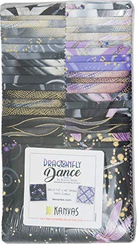 (Kanvas Studio Dragonfly Dance Purple Strip-Pies 40 2.5-inch Strips Jelly Roll Benartex)