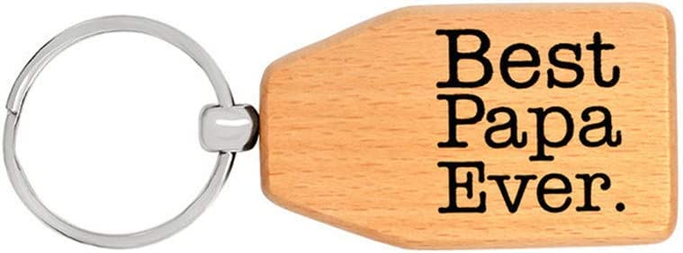 Father's Day Christmas Birthday Gifts for Papa Grandpa Wooden Best Papa Ever Keychain from Grandchildren