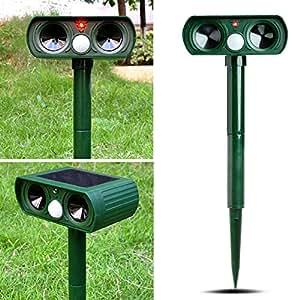 Lays Solar Patio Animal repelente ultrasónico impermeable con luz para jardín perro, gato, murciélago zorros