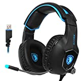 SADES R13 USB Gaming headset 2017 New Update Gaming Headset USB Wired PC Gaming Headset Over Ear Gaming Headphones with Mic Revolution Volume Control Noise Canceling LED Light PC Mac(BlackBlue)