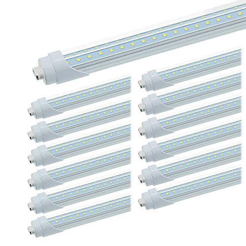 JESLED R17D/HO 8FT LED Tubes - Rotate V Shaped, 6000K Cool White 50W, 6750LM, 110W Equivalent F96T12/CW/HO, Clear Cover, T8/T10/T12 Replacement, Dual-End Powered, Ballast Bypass, Pack of 12