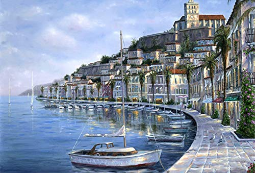 ABEUTY DIY Paint by Numbers for Adults Beginner - House of Seaside City 16x20 inches Number Painting Anti Stress Toys (No Frame)