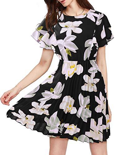Summer Casual Dresses for Women, Aliling Women's Dress Sweet & Cute Boat Neck Ruffle Cap Sleeves Flared Dress Midi Dress Black-white S ()