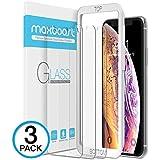 Maxboost Apple iPhone XS 和 iPhone X(透明,3 包)0.25mm iPhone XS/X 钢化玻璃屏幕保护膜,高级清晰度 [3D Touch]适用于大多数 99% 触摸准确度