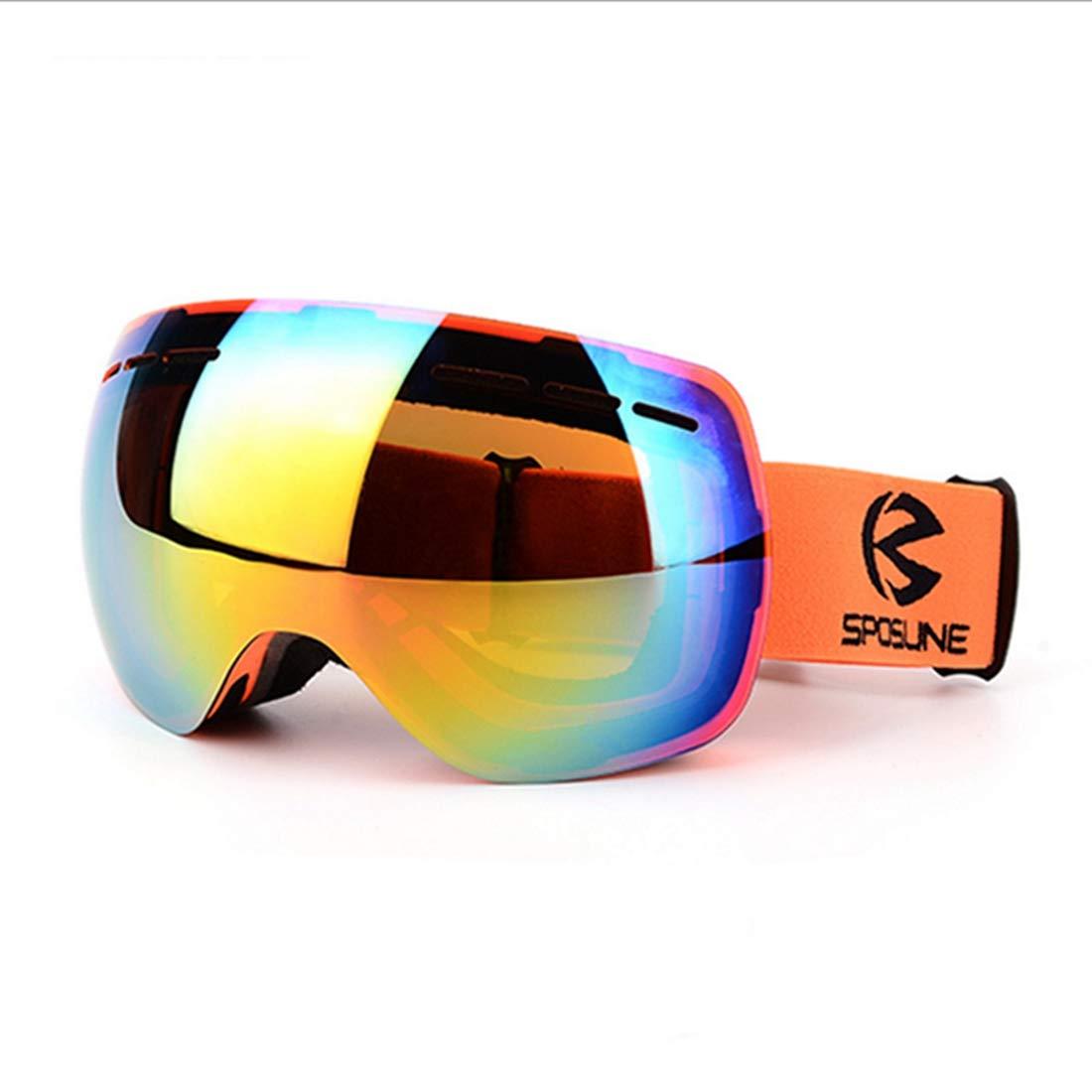 APRFELICIA Gafas de esquí Gafas de esquí para Hombre y Mujeres Gafas de Alpinismo Doble Capa Antiempañante Gafas de esquí a Prueba de Viento (Color : Orange)