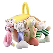 iPlay, iLearn 4 Plush Baby Soft Rattles Set, Developmental Hand Grip, Stimulating Shaker Toys, Cute Stuffed Animals w/ Sounds, for 1, 2, 3, 4, 5, 6, 7, 8, 9, 10, 12 Month, Newborn, Infant, Boy & Girl