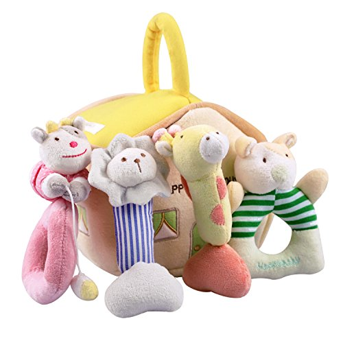 iPlay, iLearn 4 Plush Baby Soft Rattles Set, Developmental Toy w/ Hand Grip, Natural Cotton Teether and Shaker, Cute Stuffed Animals w/ Sounds for 3, 6, 9, 10, 12 Month, -