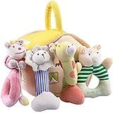 iPlay, iLearn Deals 4 Plush Baby Soft Rattles Set, Developmental Hand, Grip, Shaker Stimulating Toys, Stuffed Animal with Sound Gift for 1, 2, 3, 4, 5, 6, 7, 8, 9, 10, 12 Month Newborn Infant Boy Girl