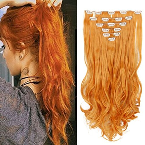 Queentas 8 Pcs Set 20Inch One Piece 3/4 Full Head Clip in Hair Extensions Long Curly Wave Synthetic Hair Extensions for Women 140g -