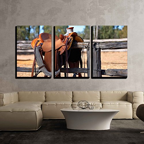 "Wall26 - 3 Piece Canvas Wall Art - a Western Style Saddle Siting upon a Country Fence Beside a Riding Arena. - Modern Home Decor Stretched and Framed Ready to Hang - 24""x36""x3 Panels"