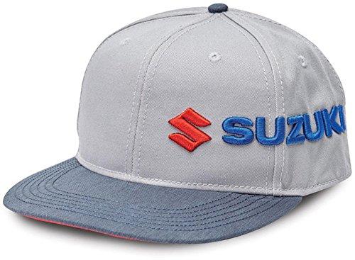 Suzuki Sideways Embroidered Logo Adjustable Hat Grey Red Blue