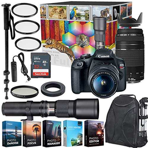 Canon EOS Rebel T7 DSLR Camera with 18-55mm & 75-300mm Lenses Kit + 500mm Preset Wildlife Lens – Deluxe Professional Photo & Video Creative Bundle