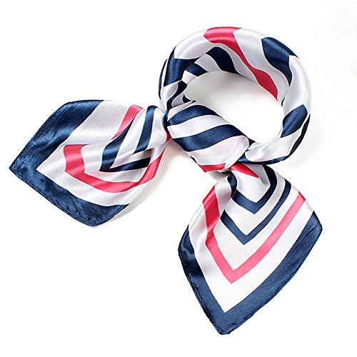 (QBSM Womens Navy White Red Striped Satin Silk Feeling Formal Square Scarf Cosplay Neckerchief Head Band)