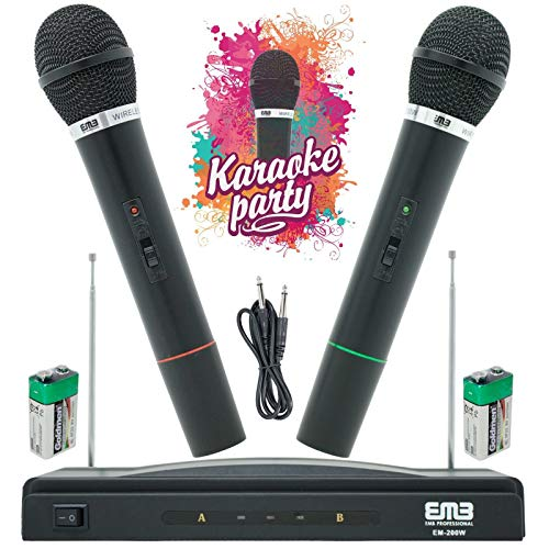 EMB EM-200W Professional Wireless Microphone System Dual Handheld 2X Mic Cordless Receiver