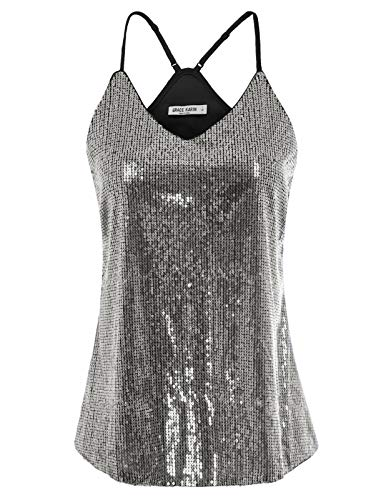 GRACE KARIN Women's Shimmer Flashy All Sequins Embellished Sparkle Vest Tank Tops Size -