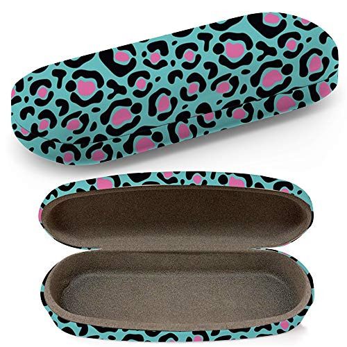 Hard Shell Glasses Protective Case With Cleaning Cloth Eyeglasses Sunglasses - Glamorous Cheetah