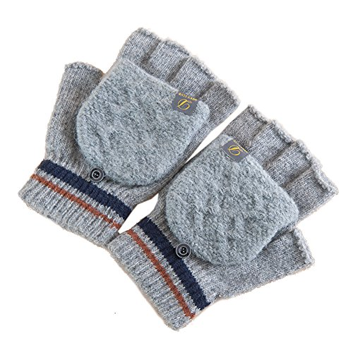 Artone Thermal Insulation Christmas Fingerless Cycling Knit Diamond Adjustable Gloves with Mitten Cover