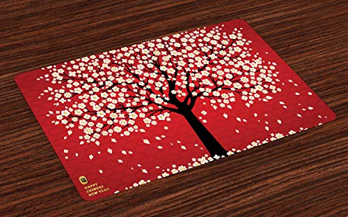 Lunarable Chinese New Year Place Mats Set of 4, Cherry Blossom Composition, Washable Fabric Placemats for Dining Room Kitchen Table Decor, Vermilion Charcoal