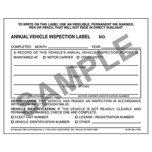 100 Annual Vehicle Inspection Label - Vinyl w/Mylar Laminate