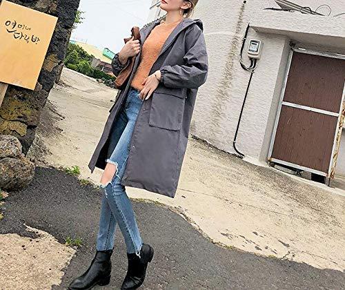 Nouveau Et vent Coupe Veste Automne Style Cardigan Capuche 2018 À Mince Femme Taille grande Lâche Blansdi Gris Hiver Long Section Manteau Loisirs Confortable wFq0zXv