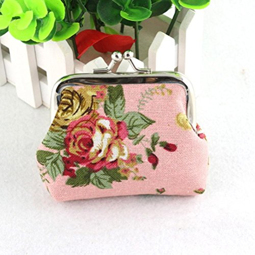 Nevera omen Lady Retro Vintage Flower Small Wallet Hasp Purse Clutch Bag (Pink)