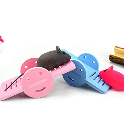 Xiton Hamster Toys Wooden Balanc/ín Fun Play Toy para Animales peque/ños Hamster Playground Azul